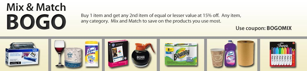Who doesn't love BOGOs? Mix & Match - Buy 1 item and get any 2nd item of equal or lesser value at 15% off.  Any item, any category.  Mix and Match to save on products you use most.  Use coupon: BOGOMIX.